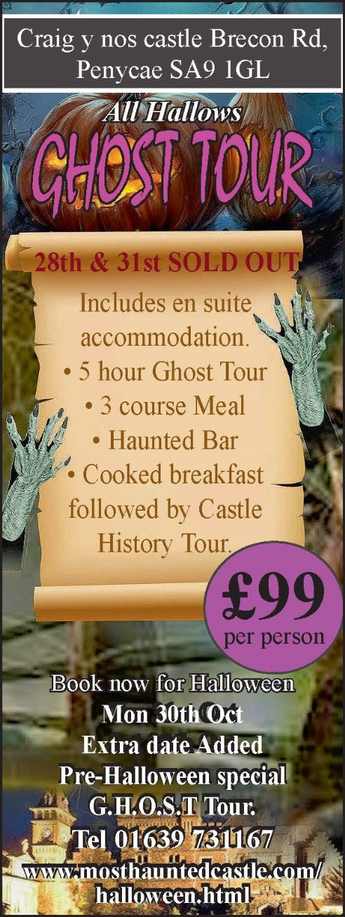 Halloween Night Haunted House Ghost Tours at Craig y Nos Castle