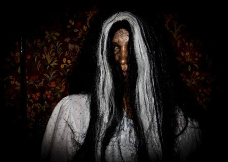 Swansea Hen Parties scary ghost apparition  Fright Night character with long grey hair at Craig y Nos Castle Wales