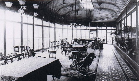 Conservatory at Craig y Nos Castle Haunted Housel Wales 1915 wooden ceiling