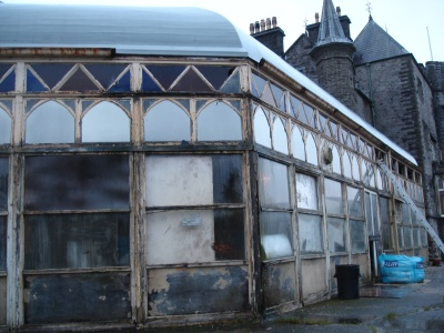 Derelict Conservatory at Craig y Nos Castle Haunted hotel, Swansea, Wales