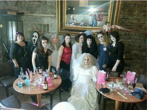 Fright Night Guests and Hen Party at Craig y Nos Castle's Haunted bar in ghostly costume