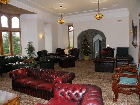 Nicolini Lounge leather chesterfield sofas at Craig y Nos Castle Haunted Hotel in Wales