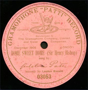 A faded pink gramophone Patti record Home Sweet Home