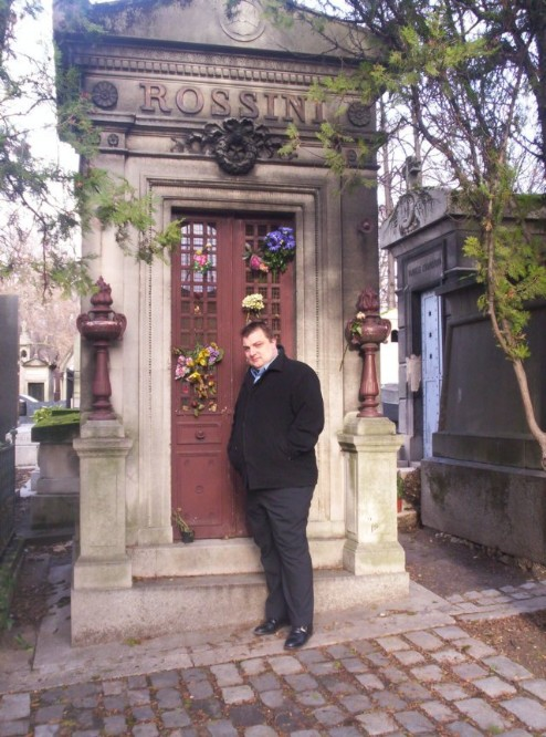 Steve Graham Paranormal Investigator outside Rossini's Mausoleum in Paris cemetary
