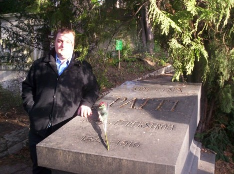 Adelina Patti's gravestone in Paris cemetary with Steve Graham, head of paranormal investigations