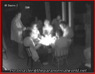 Candle lit seance table in cellars under stage at Craig y Nos Castle's opera house, Swansea, South Wales