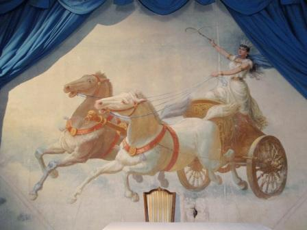 Adelina Patti a chariot curtain at Craig y Nos Castle opera house in Upper Swansea Valley, Powys, South Wales